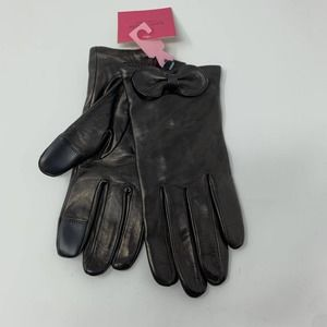 Kate Spade Womens Size L Pointy Bow Gloves Leather
